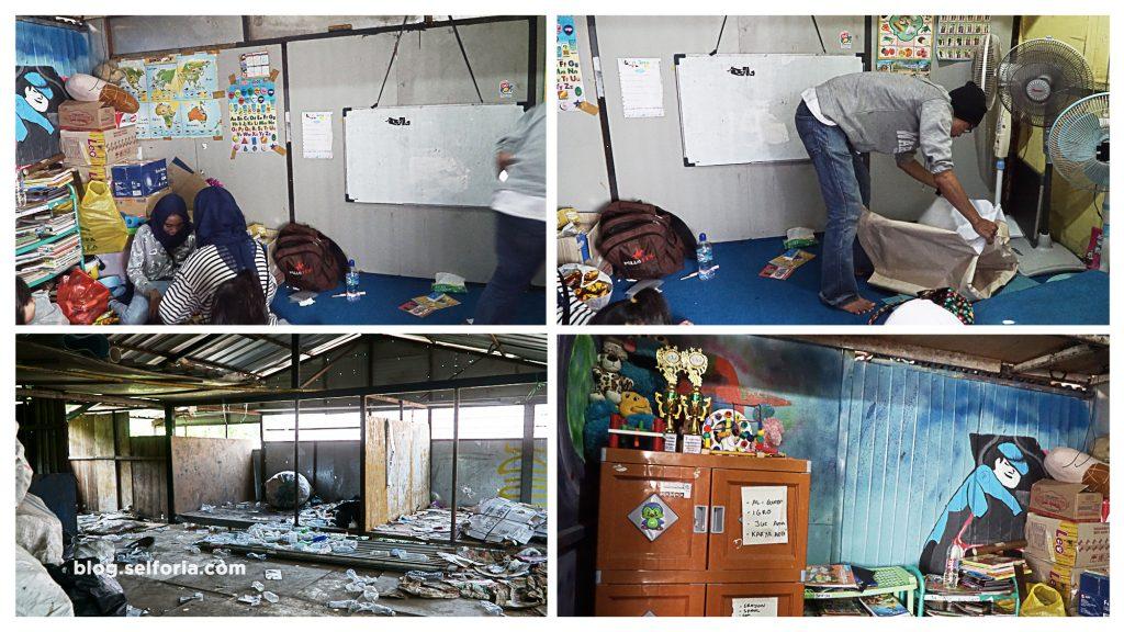 Kondisi kelas Sekolah Bersama berada di tempat dikumpulkannya hasil barang memulung, tempat tersebut merupakan sumbangan dari warga sekitar